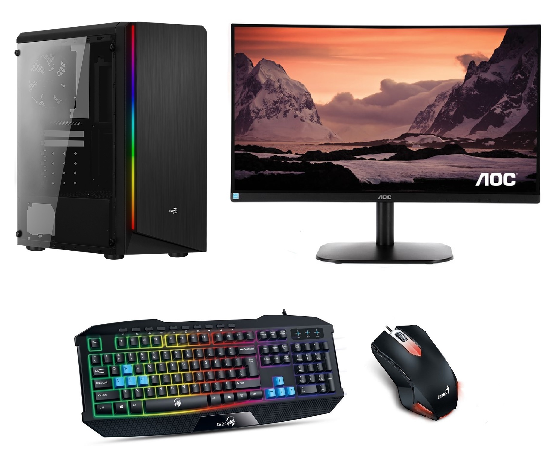 "AMD Ryzen 3 3100 Quad Core,DDR4 RAM 8GB,AMD Radeon RX 550 4GB,SSD 256GB,HDD 1000GB,DVD,24""LCD monitor AOC,Game SET"