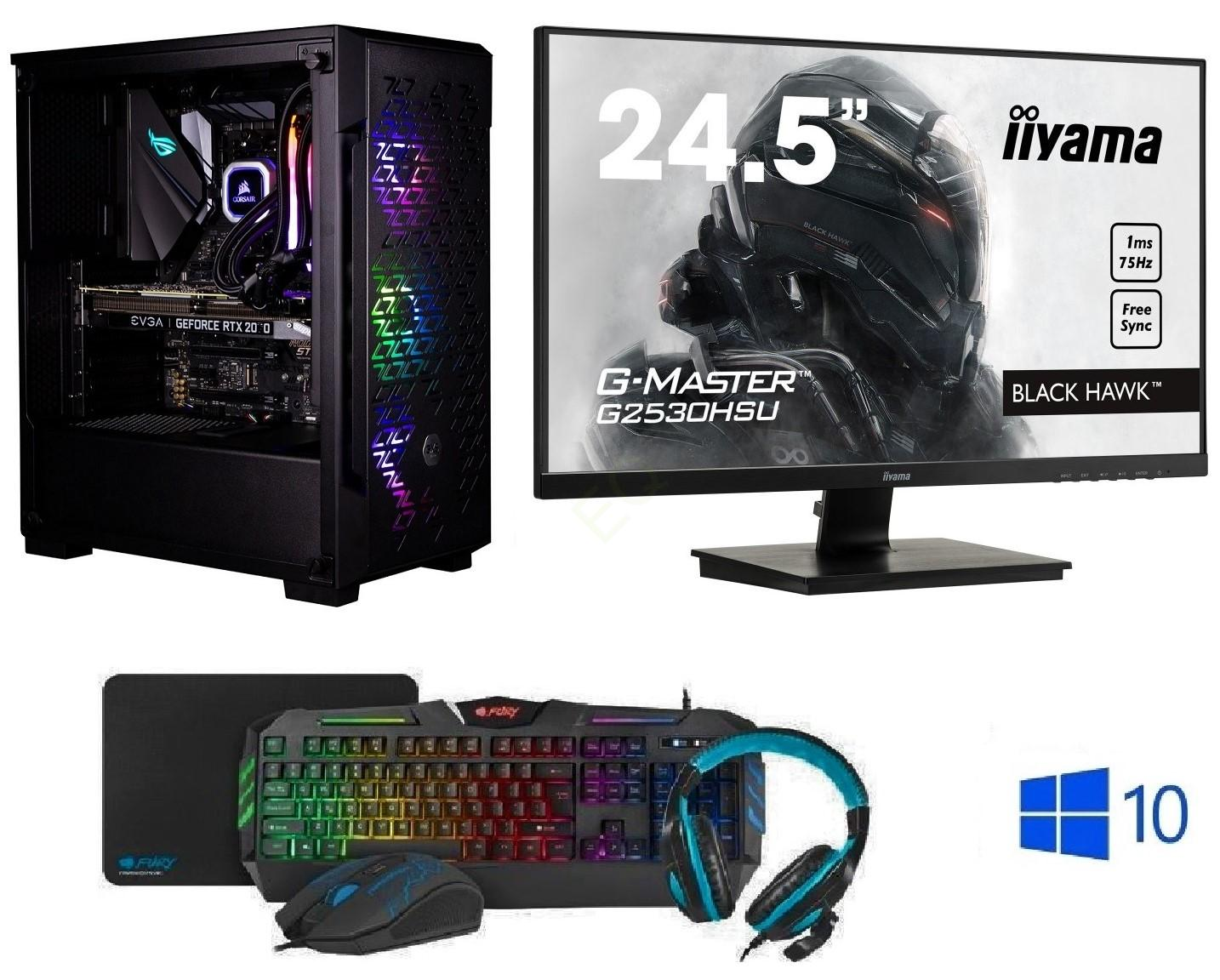 "INTEL Core i5-9600KF Hexa Core,DDR4 RAM 16GB,Gigabyte Geforce RTX 2060 Windforce Super 8GB,SSD 1TB,24,5""LCD monitor Iiyama,WIN10,Game Set"