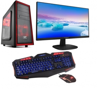 "AMD Ryzen 3 2200G Quad Core,DDR4 RAM 8GB,Sapphire Radeon RX 550 4GB,SSD 240GB,HDD 1000GB,DVD,24""LCD monitor Philips,Game SET"